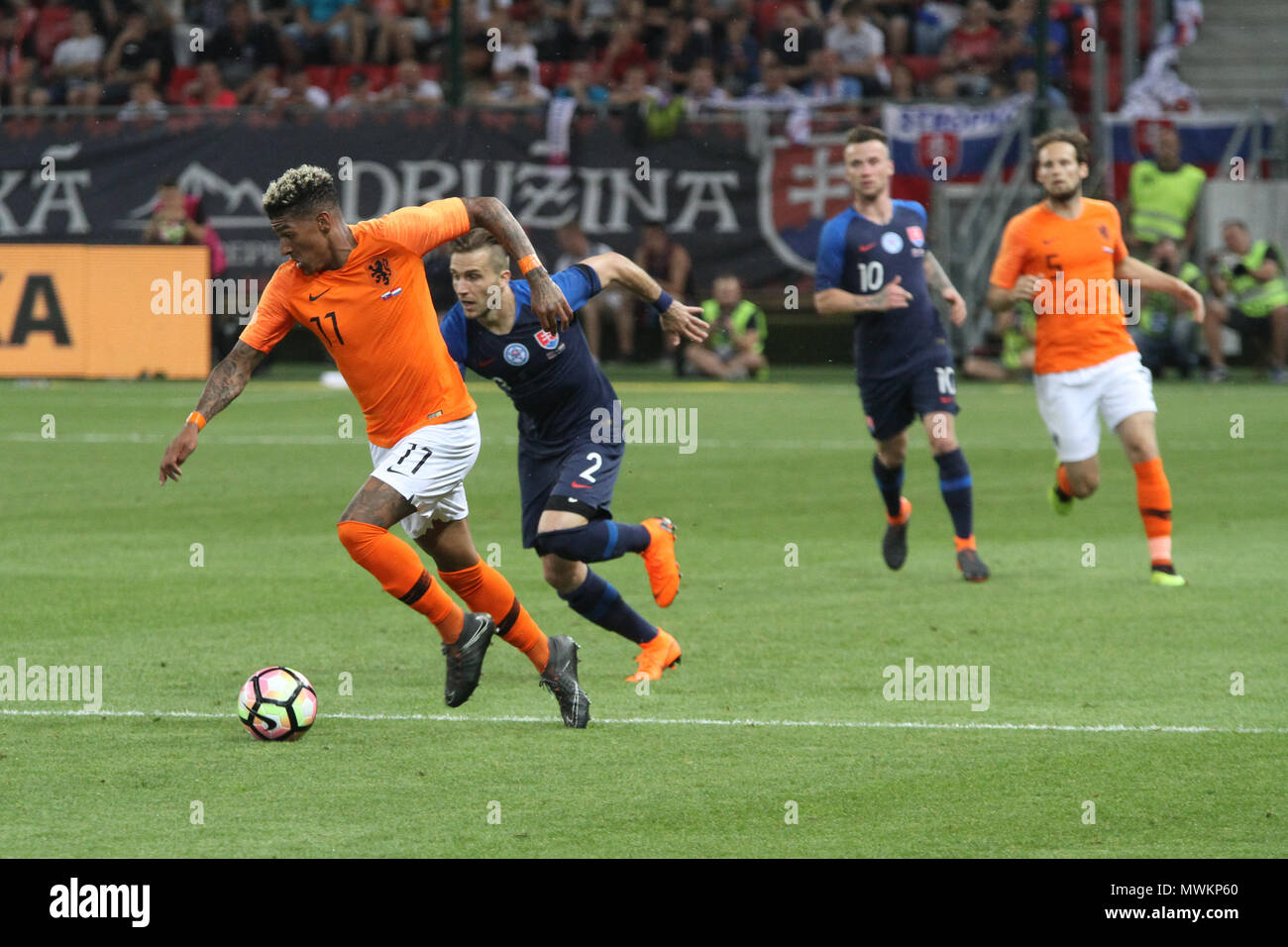 Trnava, Slovakia. 31st May, 2018. Patrick Van Aanholt (11) during the friendly football match between Slovakia and Netherlands (1 – 1). - Stock Image