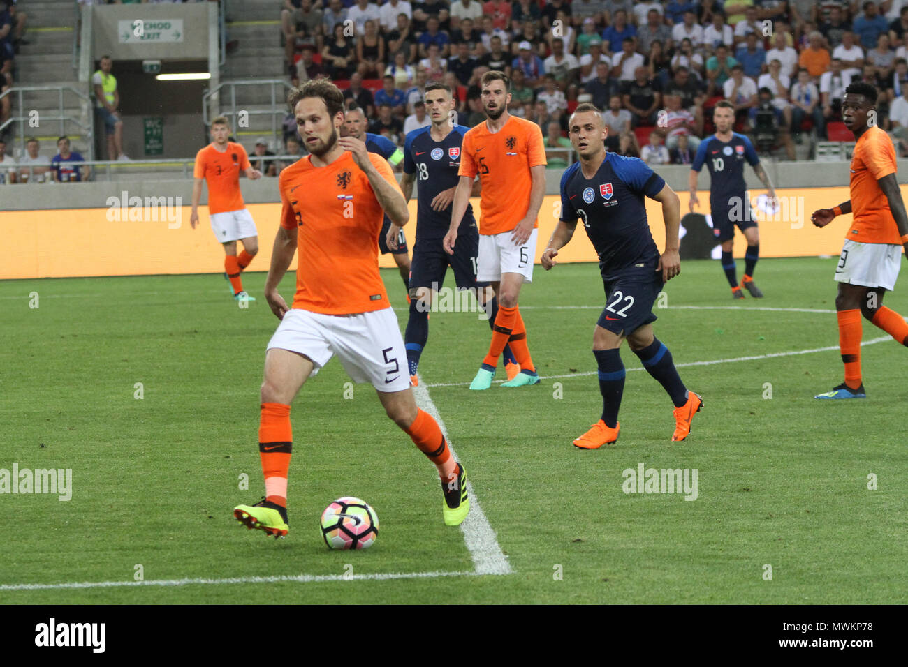 Trnava, Slovakia. 31st May, 2018. Daley Blind (5) in action during the friendly football match between Slovakia and Netherlands (1 – 1). - Stock Image