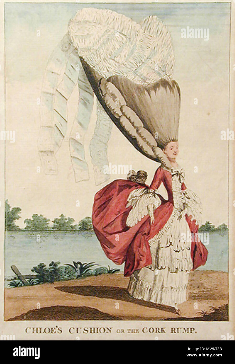 FRENCH HAIRSTYLE A satirical cartoon about 1780 - Stock Image