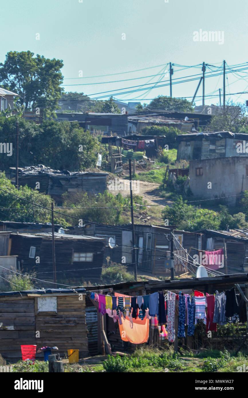 Township near kysna on the garden tourist route, South africa - Stock Image