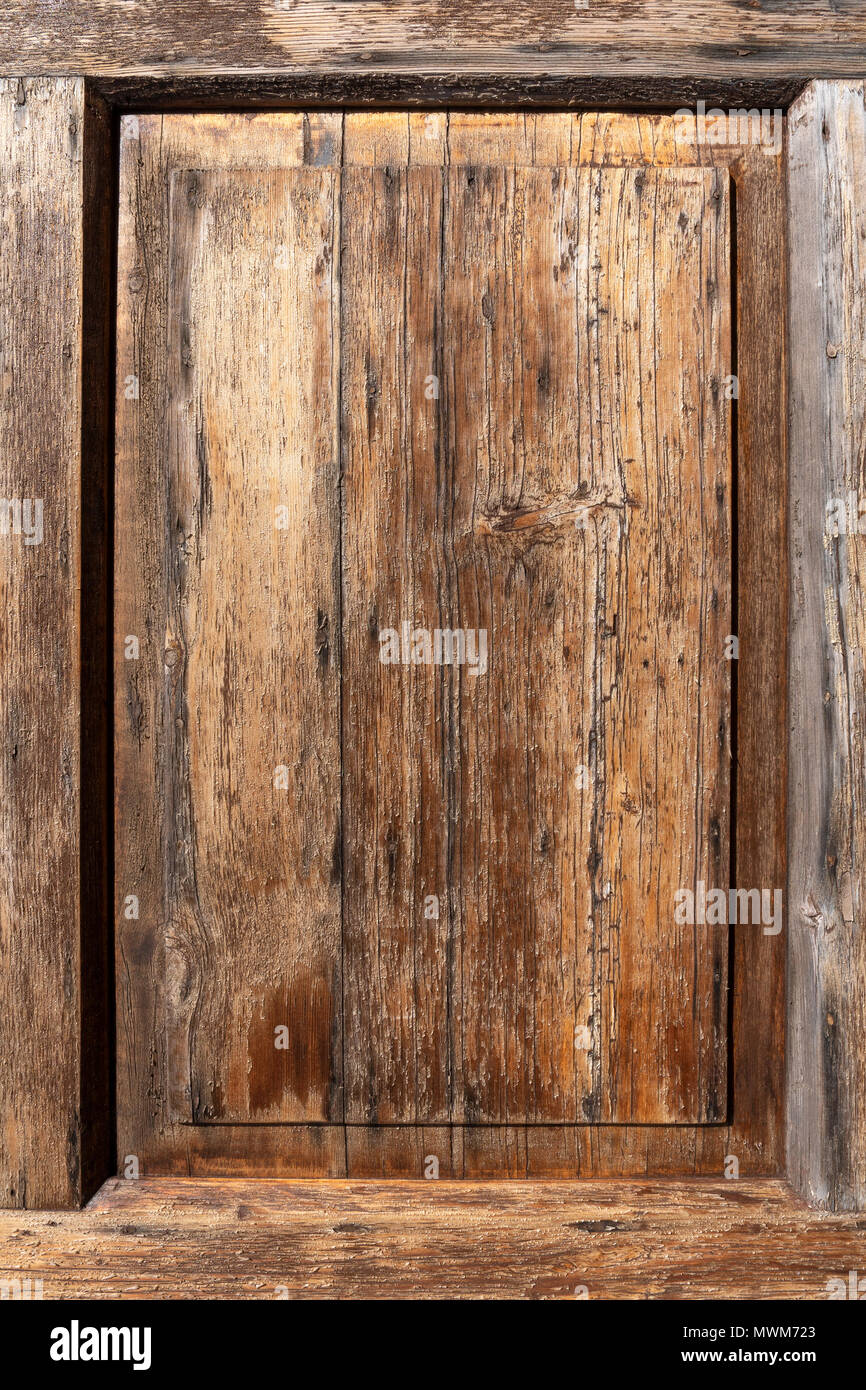 Weathered wood with frame - Stock Image