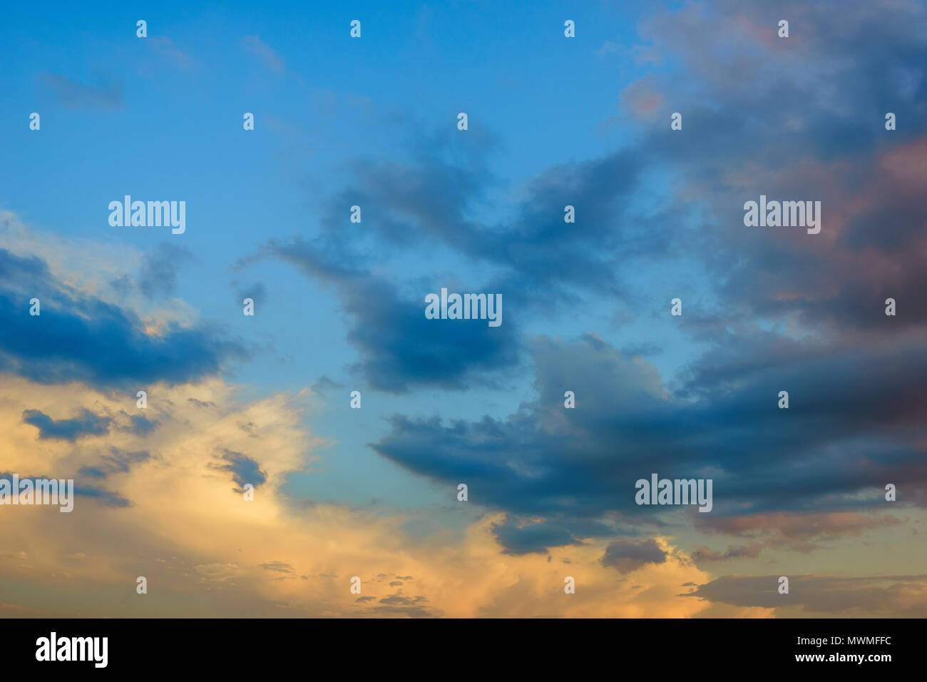 sunset sky with colorful clouds - Stock Image