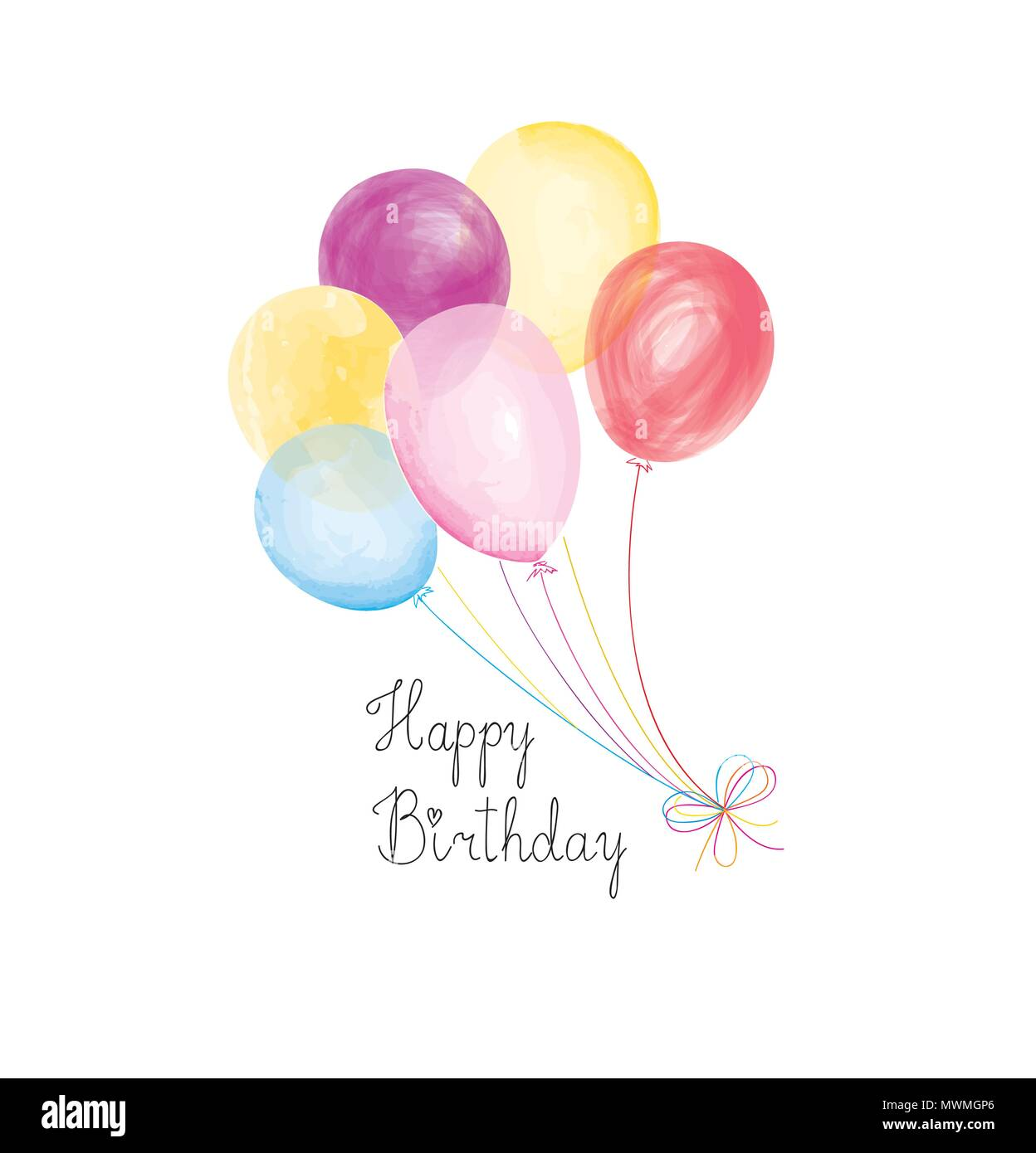Happy Birthday Greeting Card With Balloons Birthday Balloons With