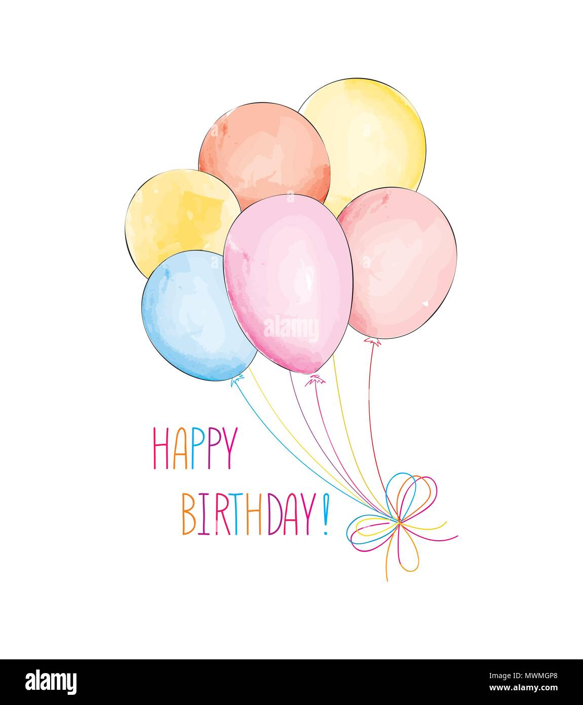 Happy Birthday Greeting Card With Balloons Birthday Ballons With