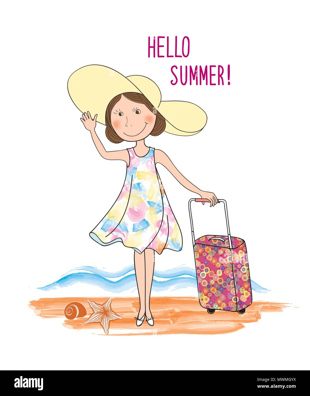 Summer travel card background. Lettering HELLO SUMMER and girl with hat, suitcase tourist luggage over seaside view. Beach resort landscape Stock Vector