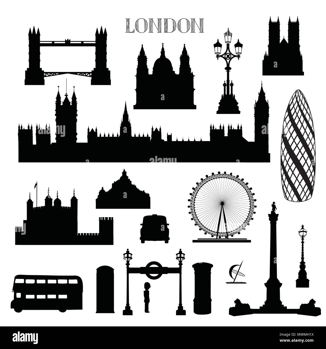 London city icon set. England landmark silhouette with lettering over white background. Travel famous places architecure - Stock Image