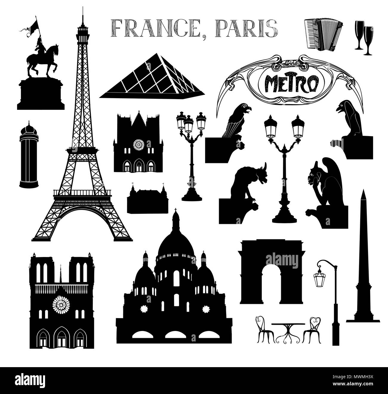 Travel Paris icon set. Vacation in Europe design elements. Travel to visit famous places of France  silhouettes over white background. Landmark collec - Stock Image