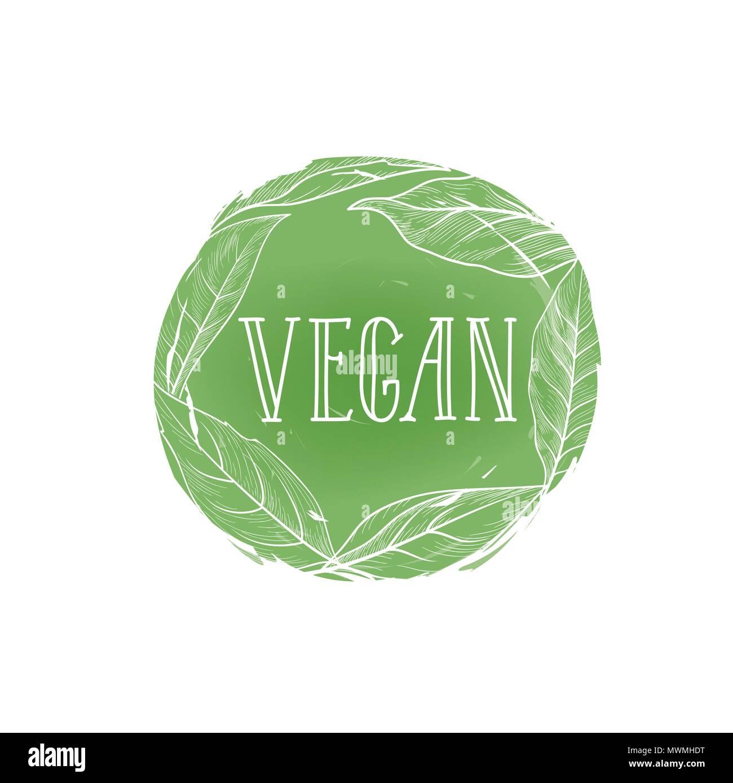 Vegetarian natural food sign  Vegan lettering in drawn