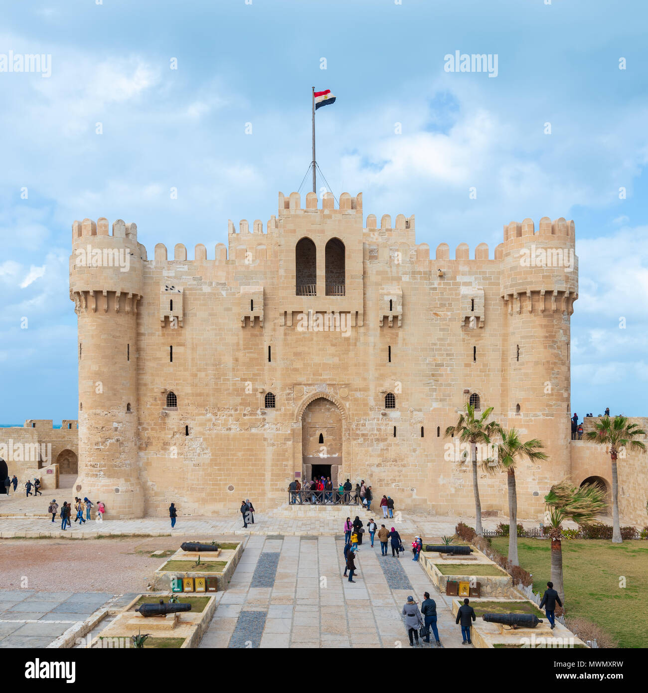 Alexandria, Egypt - January 25, 2018: Citadel of Qaitbay, a 15th century defensive fortress located on the Mediterranean sea coast, established in 147 - Stock Image