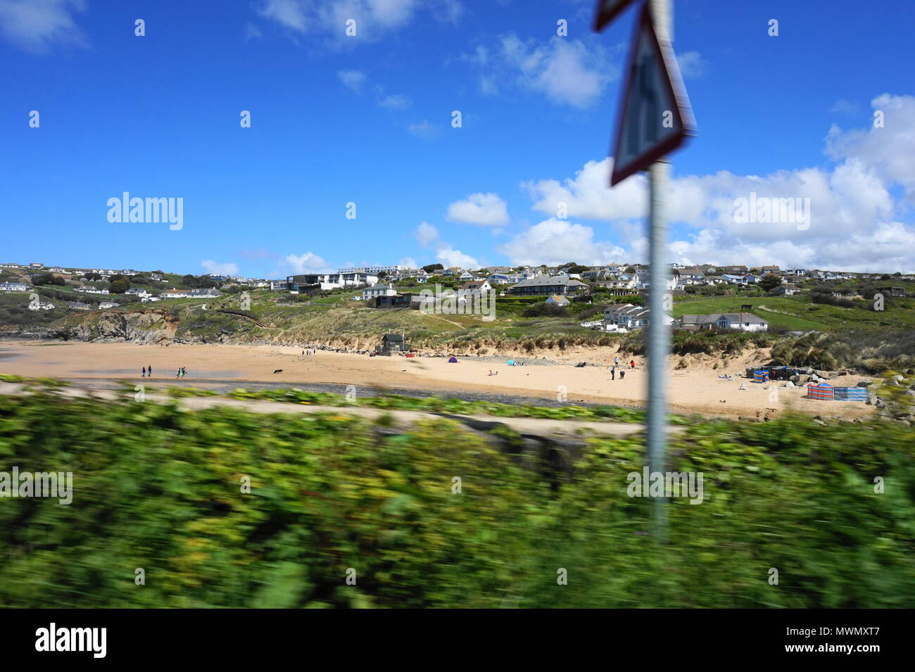 World Rushing By (Moving at High Speed on the Cornish Coast) - Stock Image