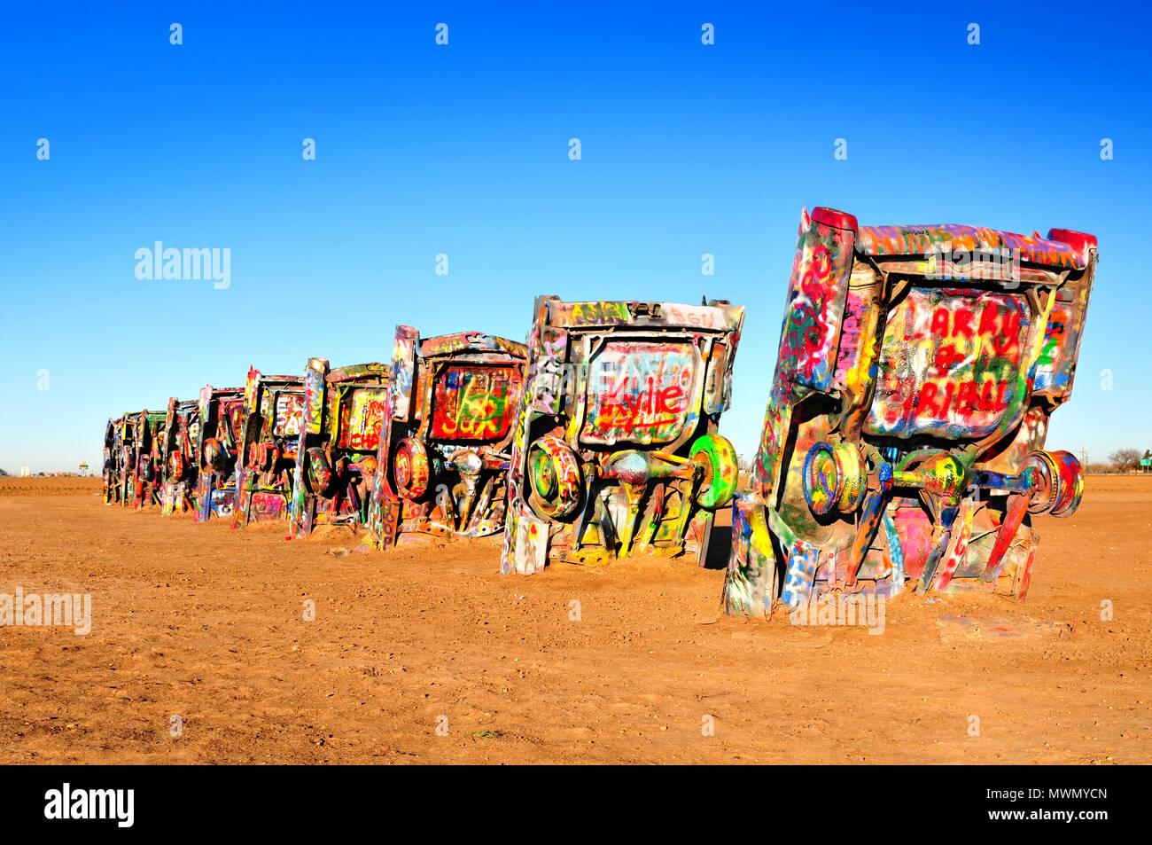 Cadillac Ranch in Amarillo, Texas, U S A Stock Photo