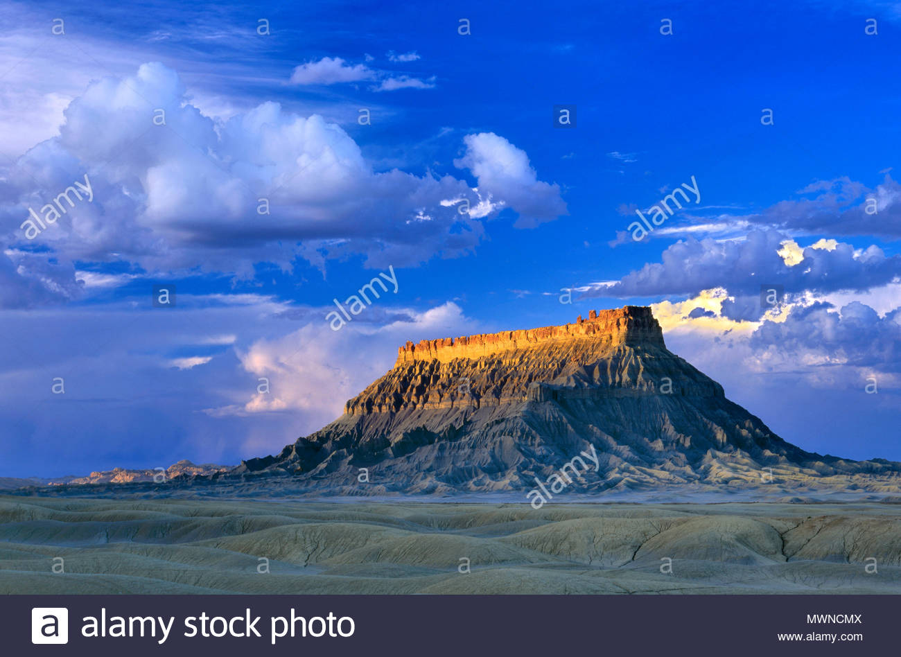 Factory Butte, BLM Lands, Wayne County, Utah - Stock Image