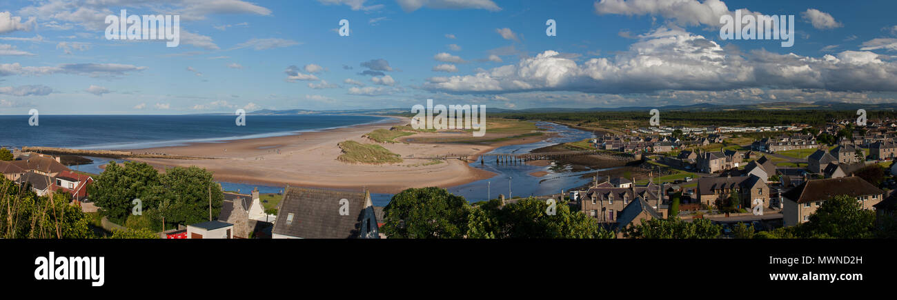 A panoramic view looking east from Lossiemouth on the Moray Firth, Moray, Scotland, United Kingdom - Stock Image