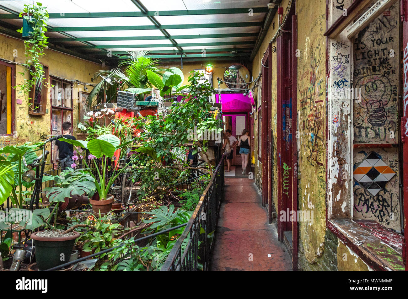 Szimpla Kert , one of the oldest Ruin Pubs In Budapest , interior detail Stock Photo