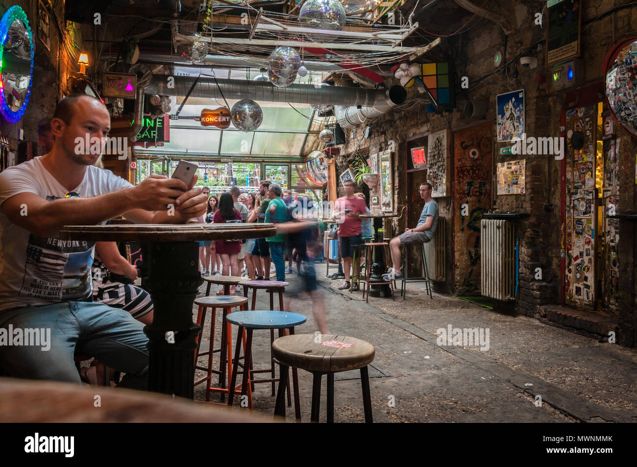 Szimpla Kert , one of the oldest Ruin Pubs In Budapest Stock Photo