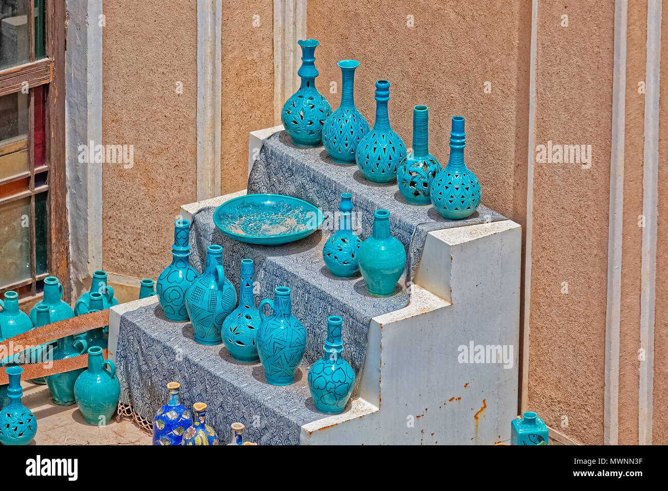 Clay turquoise vases - Stock Image