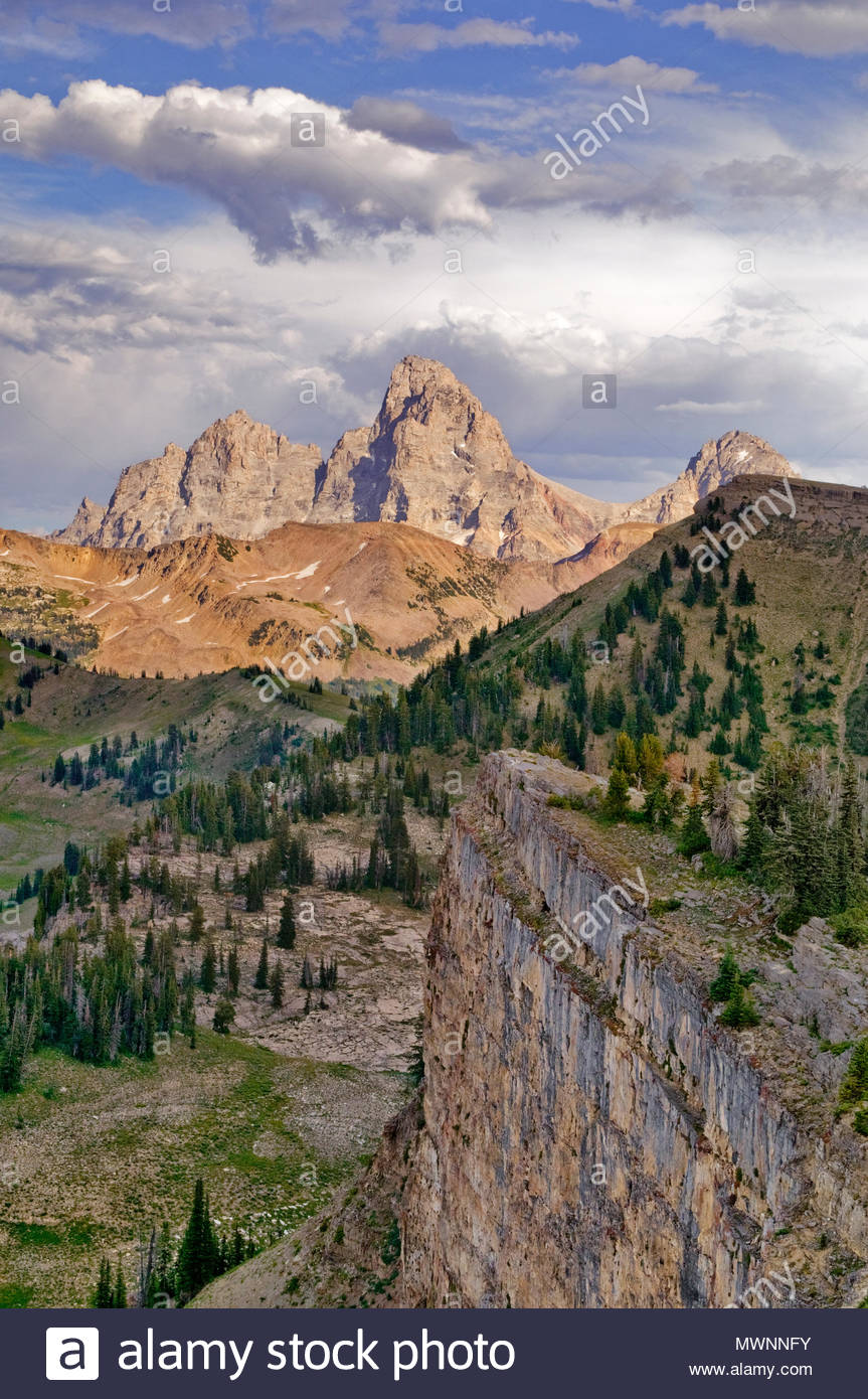 The Teton Range and the Jedediah Smith Wilderness seen from the West, Caribou-Targhee National Forest, Idaho Stock Photo