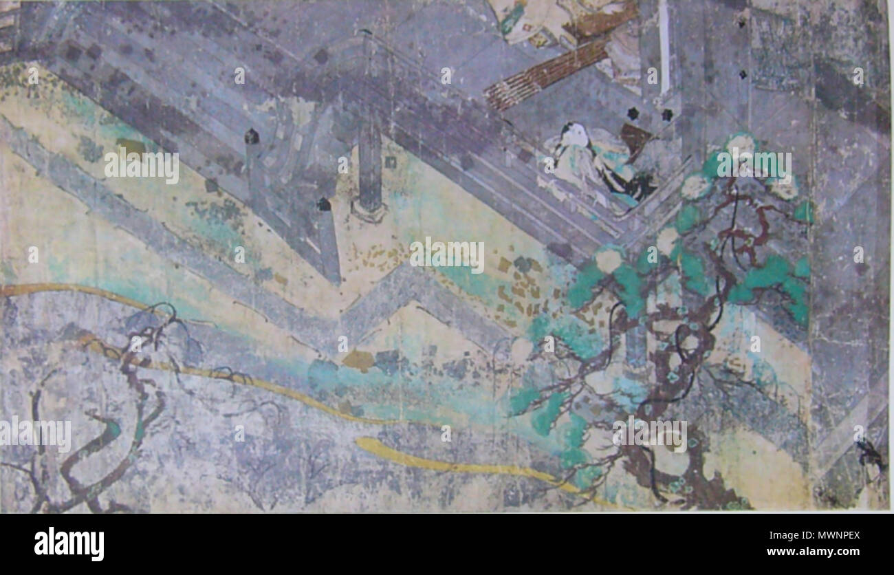 . English: A scene of handscroll of NEZAME MONOGATARI, Height 25.8cm, color, gold, silver on paper, late 12th century, Japan, YAMATO-NUNKAKAN museum collection, Nara, Japan 日本語: 寝覚物語絵巻 絵第二段  高25.8cm  平安時代末  大和文華館 . 12th century, photo:ACE1954. 日本語: 不明 English: Anonymus 12th century painter, Photo: YAMATO-BUNKAKAN(ACE1954) 442 NEZAME MONOGATARI2 handscroll - Stock Image