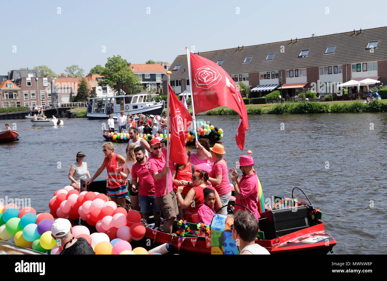 Alkmaar pride 2018 Canal parade in the canals of the city - Stock Image