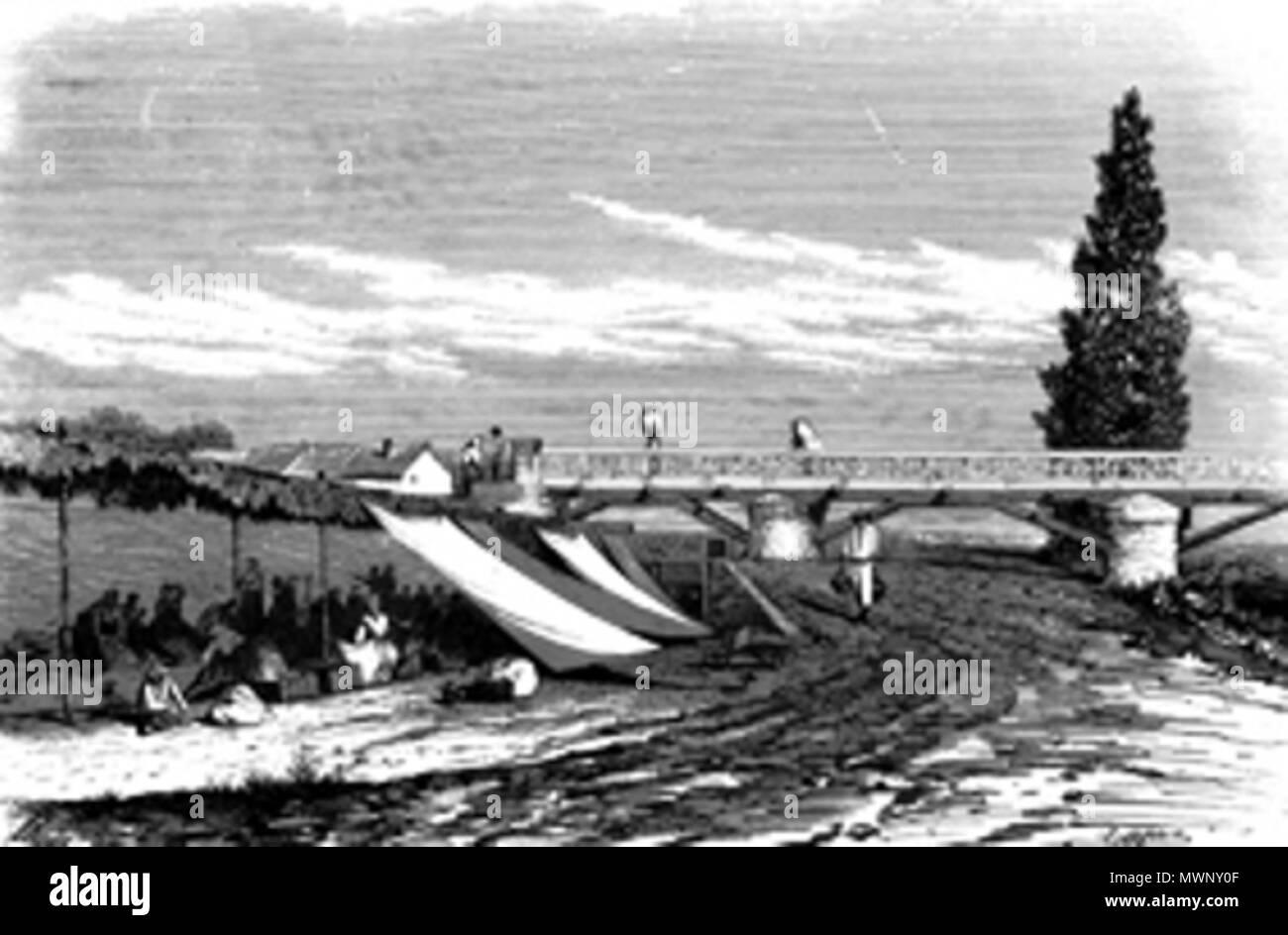 . Español: El Puente Verde sobre el río Manzanares fue una obra civil del arquitecto Pedro de Ribera en el Madrid del siglo XVIII. [1]. 1859. CAPUZ 506 Puente Verde Madrid Stock Photo