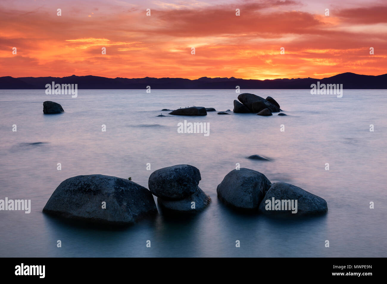 Lake Tahoe sunset at the famous Whale Beach near Incline Village, Nev., USA. - Stock Image