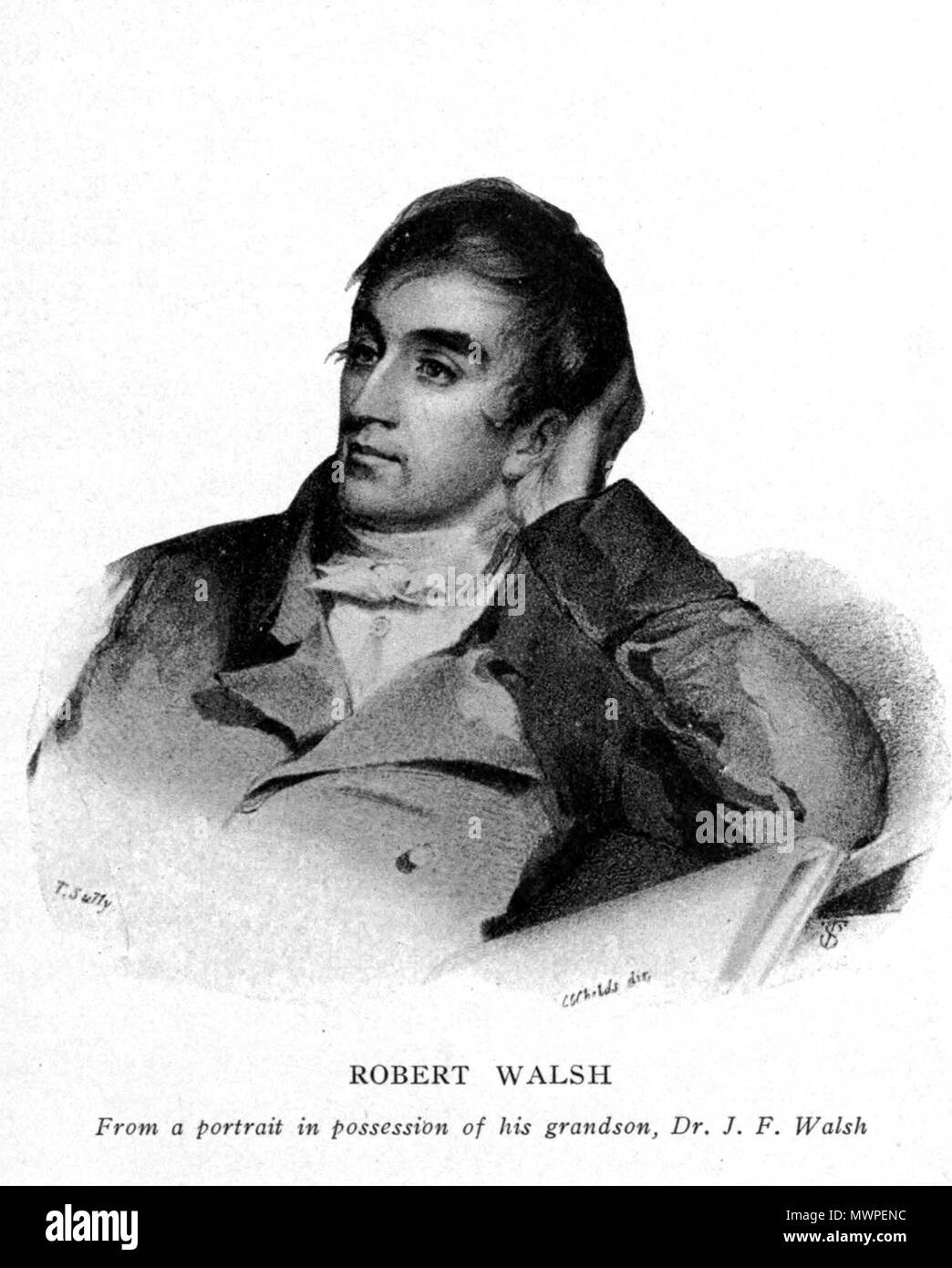 . Image of en:Robert Walsh . Presumably before 1850. Unknown 525 Robert Walsh publicist by T Sully - Stock Image