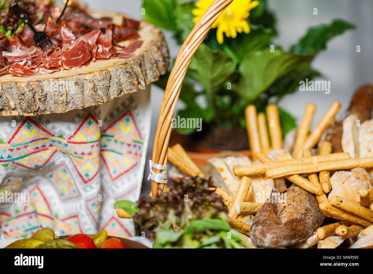 table with different type of snacks preparing for party stock photo