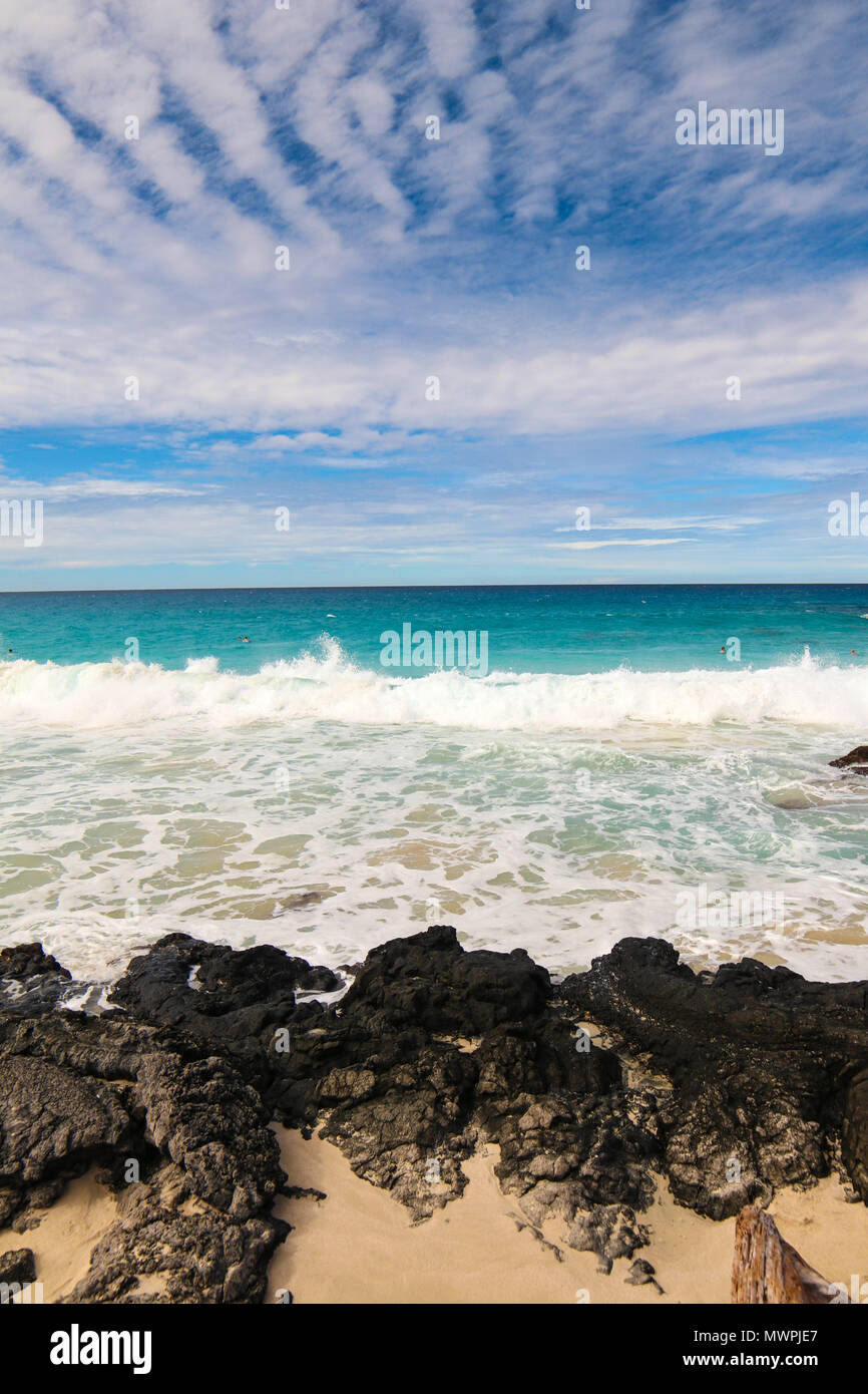 One of the most beautiful and highly rated beaches in the world - Wailea Beach, Maui, Hawaii, USA - Stock Image