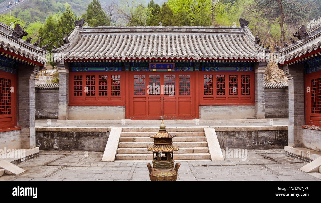 Luo Tong Memorial Temple, Juyong Pass, Beijing, China. Luo Tong led the defense of the Pass in 1449 against 30,000 Wala Mongol invaders. - Stock Image