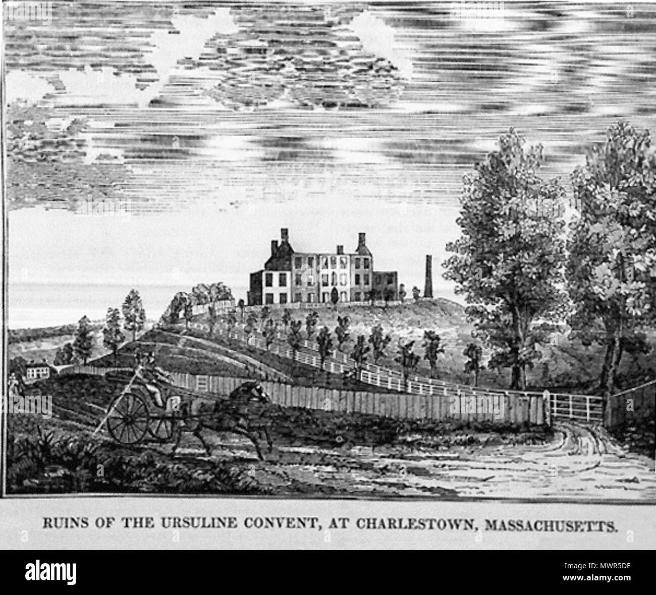 . English: 'Ruins of the Ursuline Convent, at Charlestown Massachusetts,' (Ursuline Convent Riots of August 11 & 12, 1834) wood engraving (print), original in the collection of the Charlestown (Massachusetts) Historical Society, USA . 1834. unidentified artist, historical print 532 Ruins of Ursuline Convent 1834 Riots - Stock Image