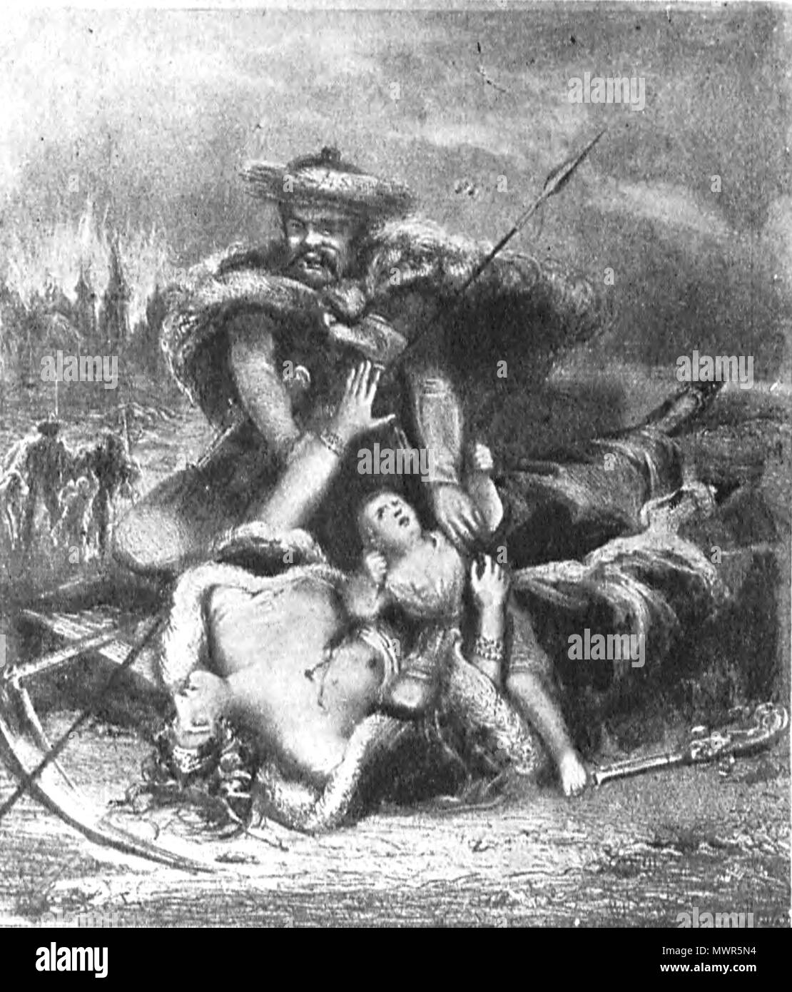 . English: Russian barbarity fighting against Poland . 19th century. Anonymous plate 533 Russian barbarity fighting against Poland - Stock Image