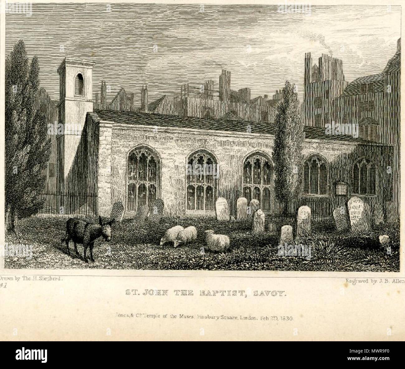 . Engraving of the Savoy Chapel with a donkey and three sheep . 1830. Thomas Hosmer Shepherd 545 Savoy Chapel Thomas Hosmer Shepherd 1830 Stock Photo