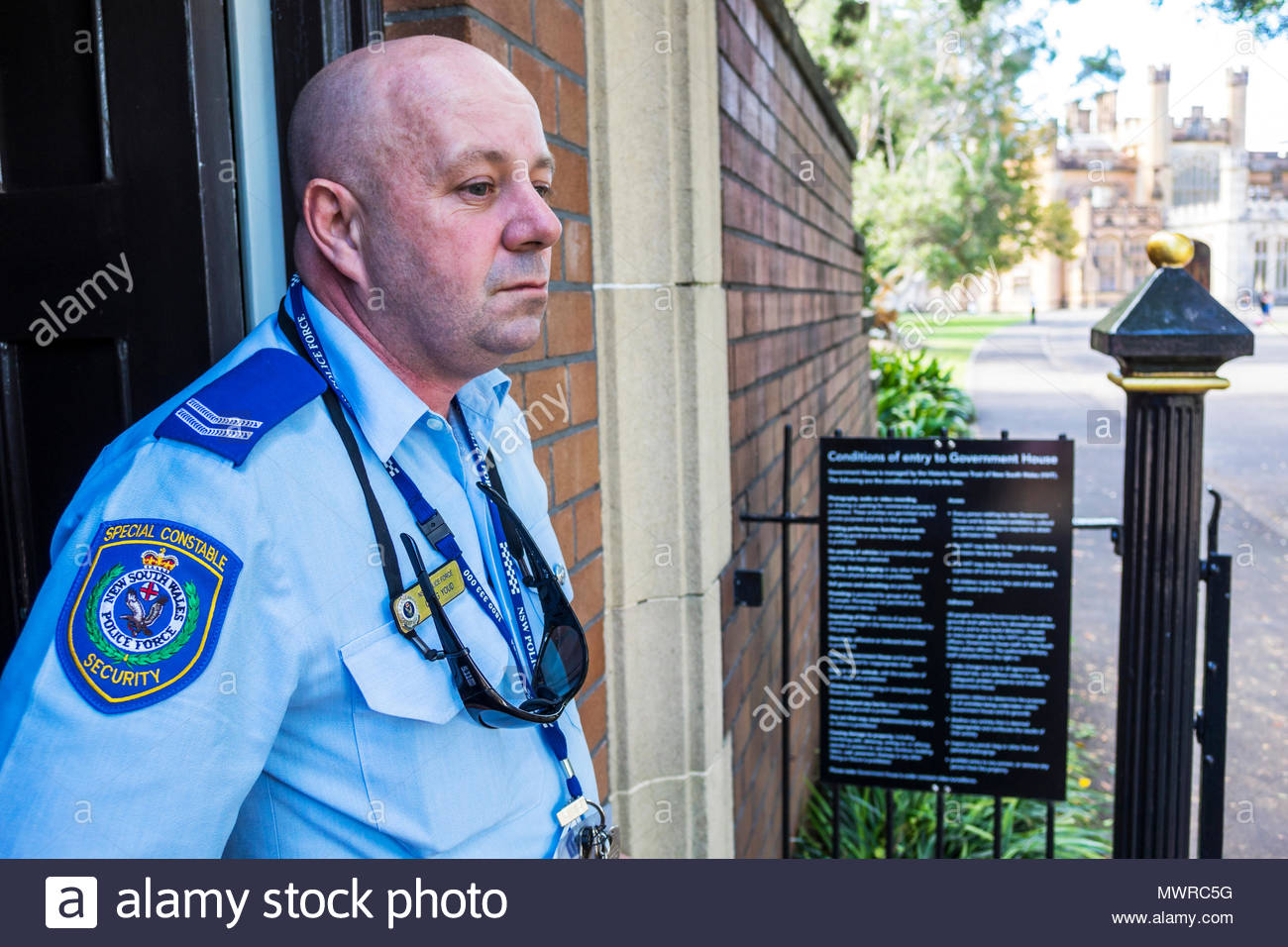 Sydney Australia NSW New South Wales special constable police policeman security man job uniform - Stock Image