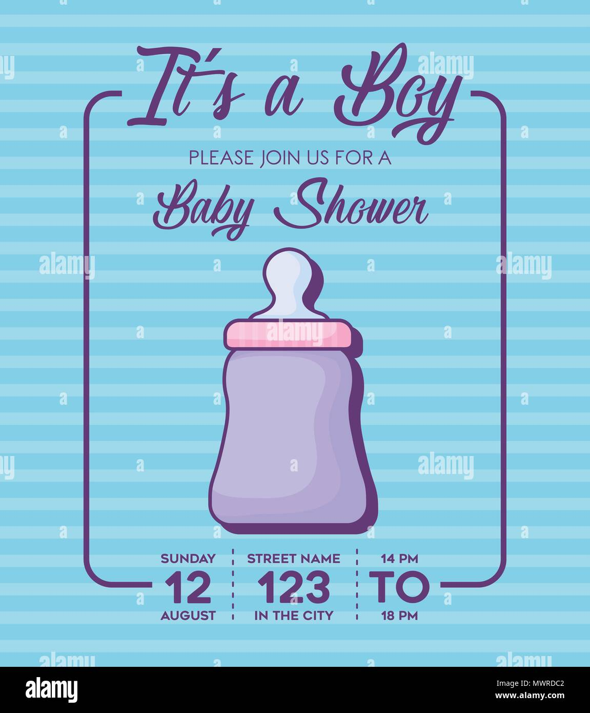 baby shower invitation with its a boy concept with cute baby bottle ...