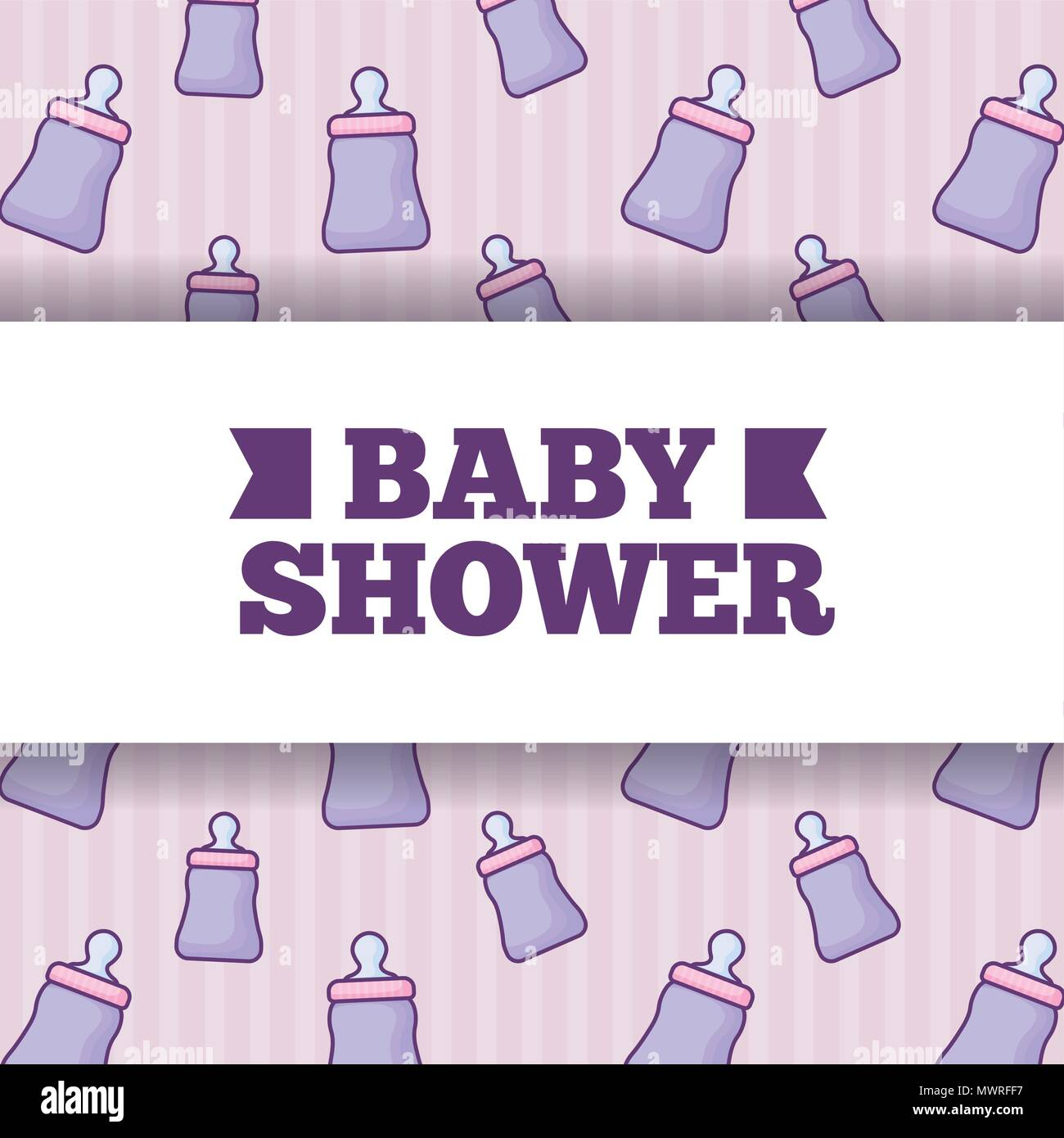baby shower design over baby bottles background, colorful design. vector illustration - Stock Image