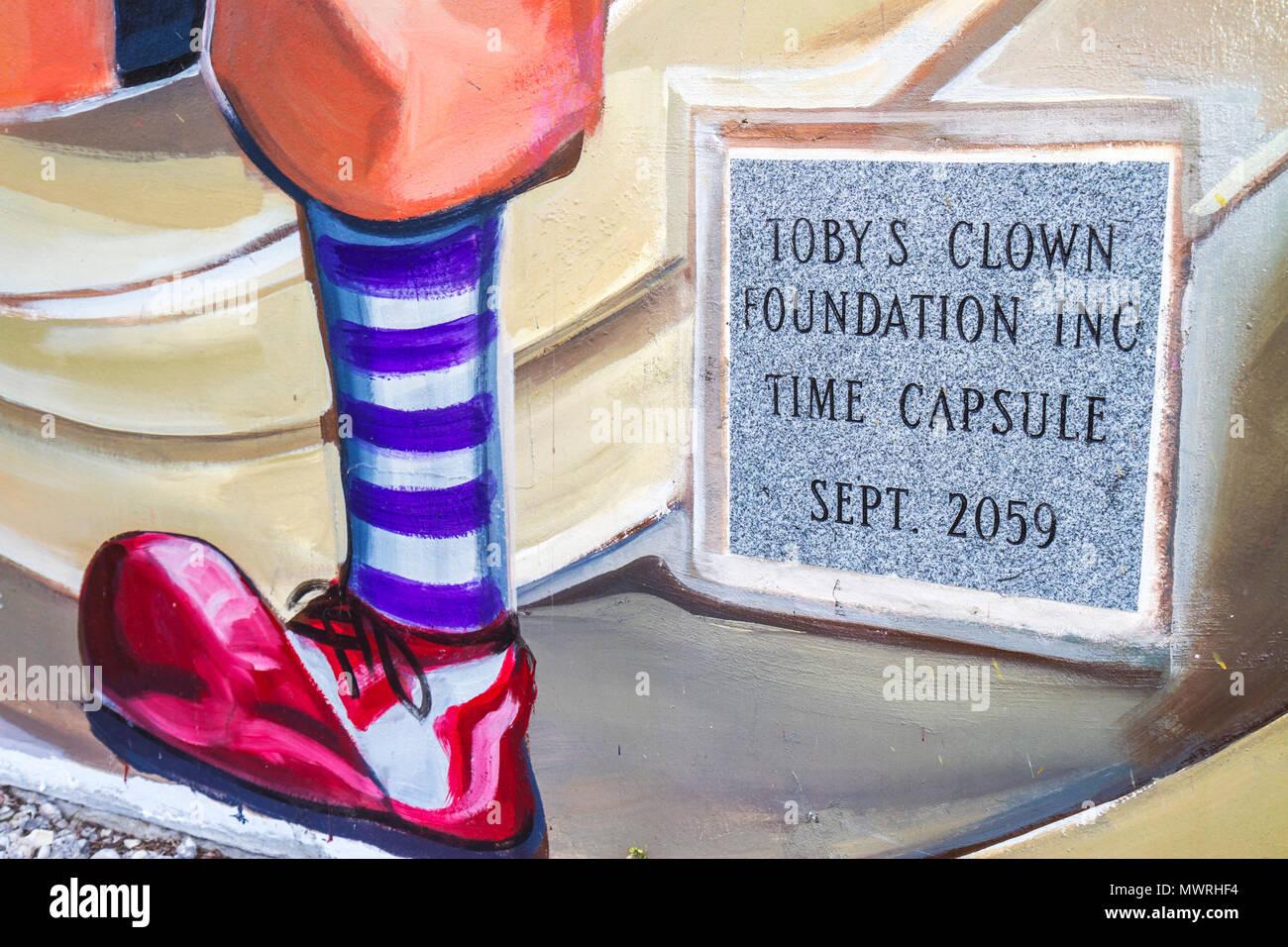 Florida Lake Placid Toby the Clown Foundation school public art humor time capsule Stock Photo