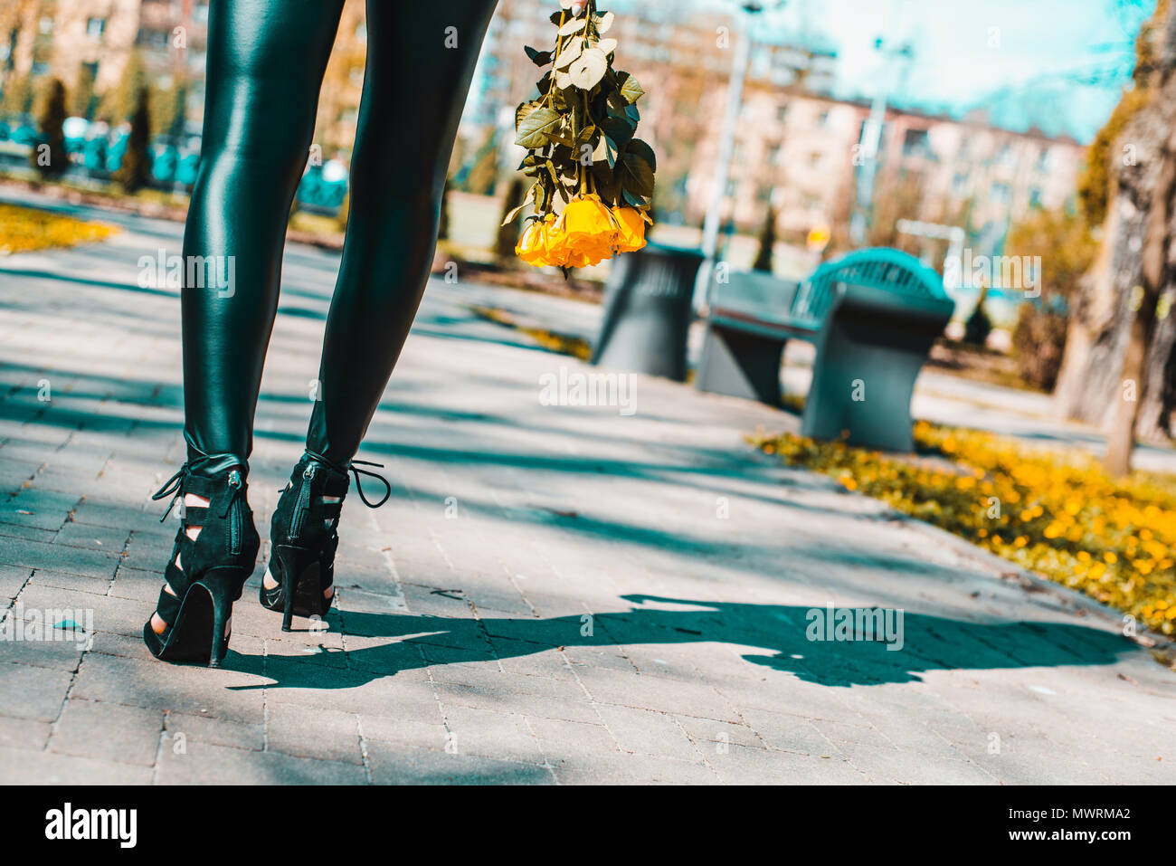 Legs view of a woman walking with flowers. The girl in black pants moves around park outside. Beuty and fashion concept. - Stock Image