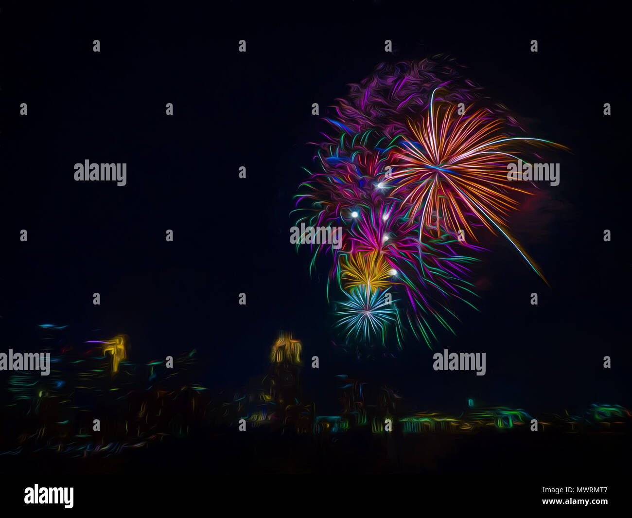 Rainbow Fireworks Celebration Colorful Abstract Image With: Altered Reality Stock Photos & Altered Reality Stock