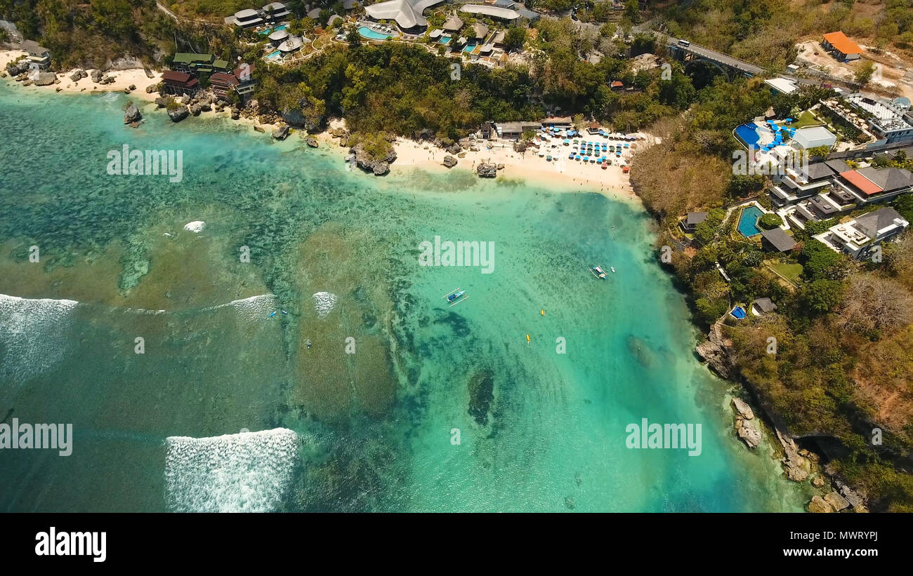 Aerial View Of Beautiful Beach Hotels And Tourists Bali