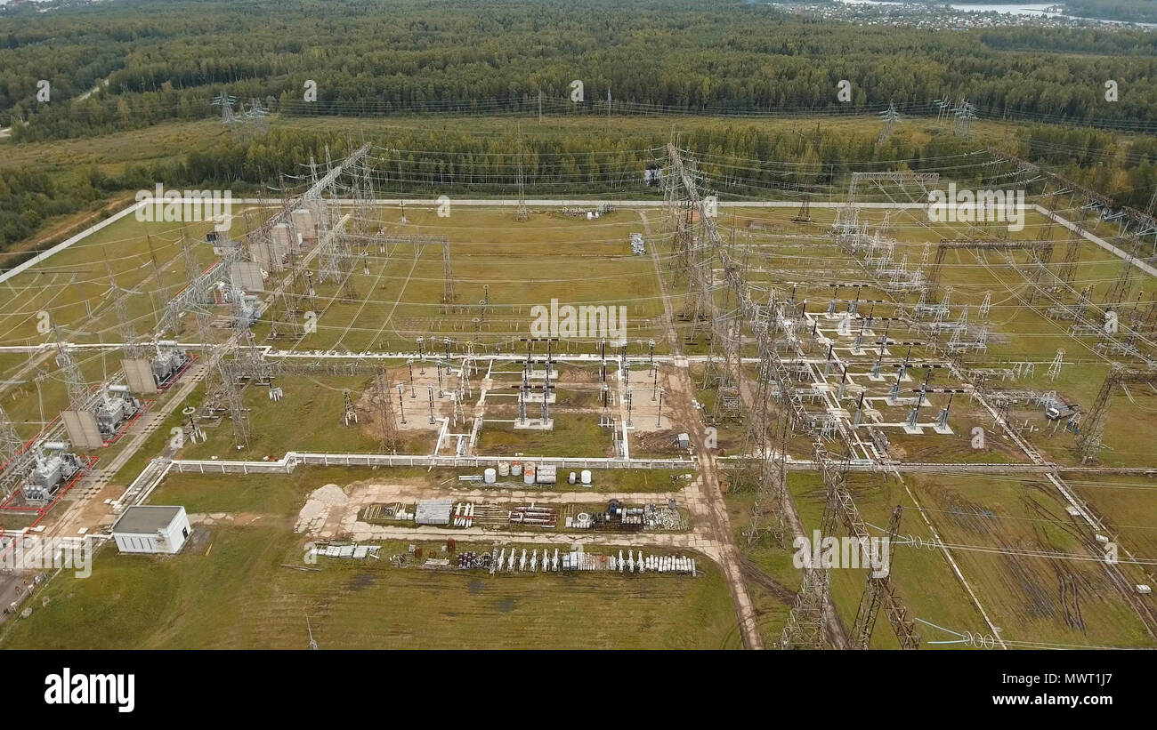 High Voltage Power Distribution Station Stock Photos Aerialwiringpicturejpg Aerial View Plant Transformation Cables And Wires Electric