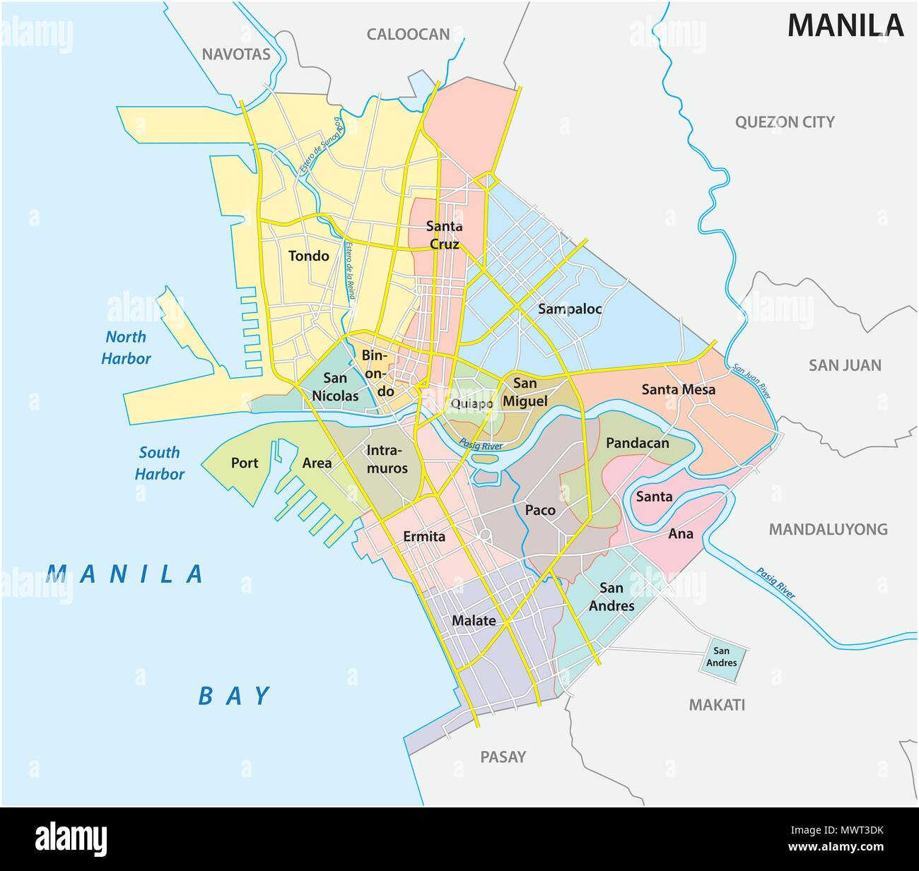 manila administrative, political and road vector map, philippines Stock Vector