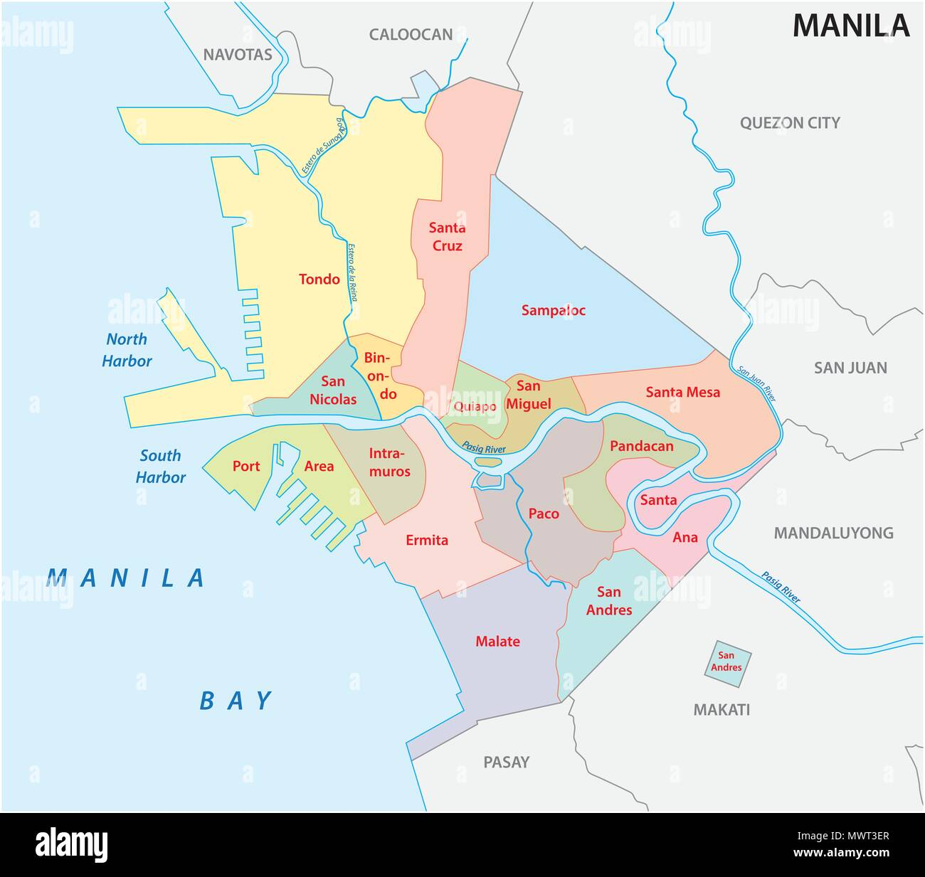 manila administrative and political vector map, philippines Stock Vector