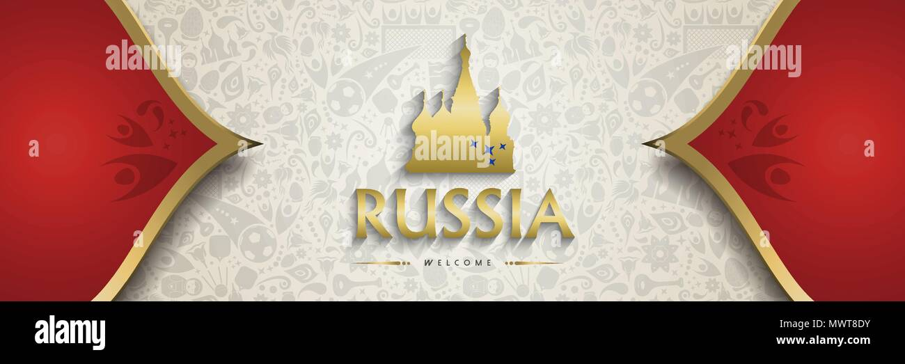 Welcome To Russia Symbol Texture Background With Gold Decoration