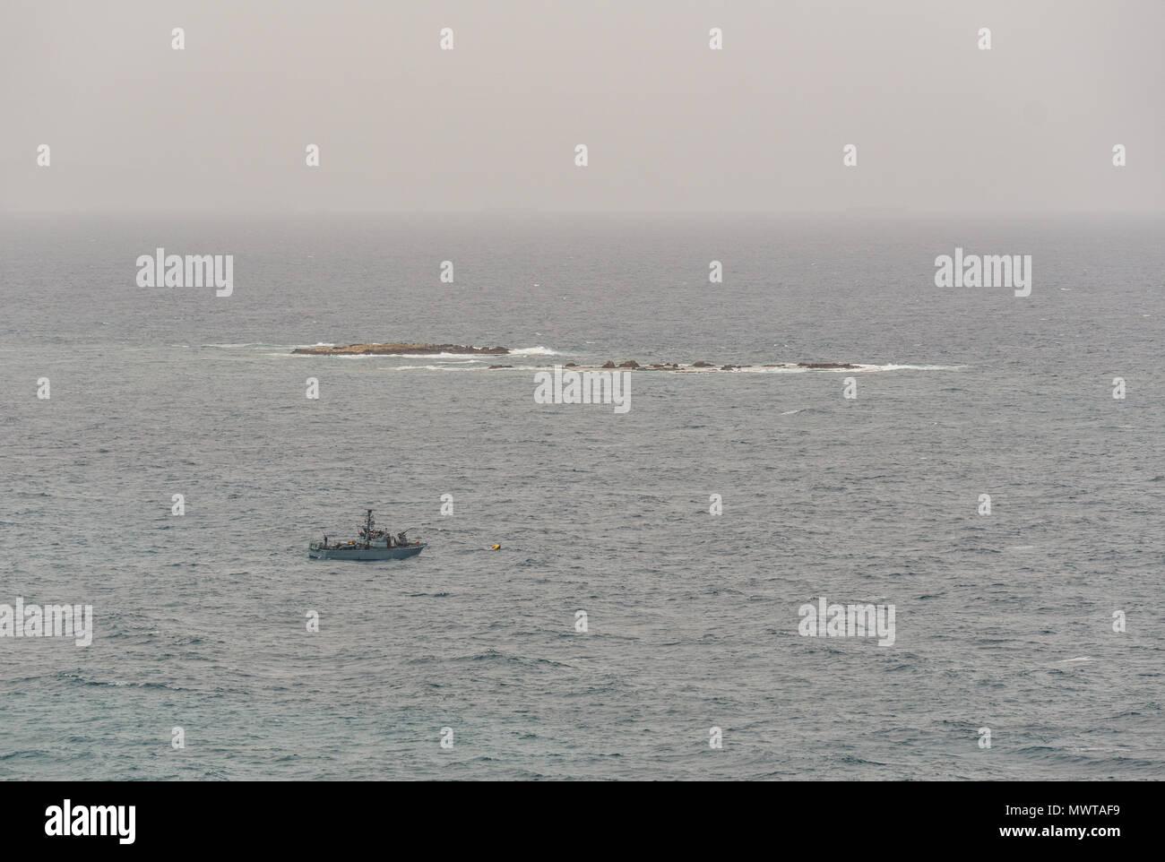 NAHARIYA, ISRAEL-MARCH 24, 2018: Military ship patrols the Israeli border in Mediterranean sea. - Stock Image