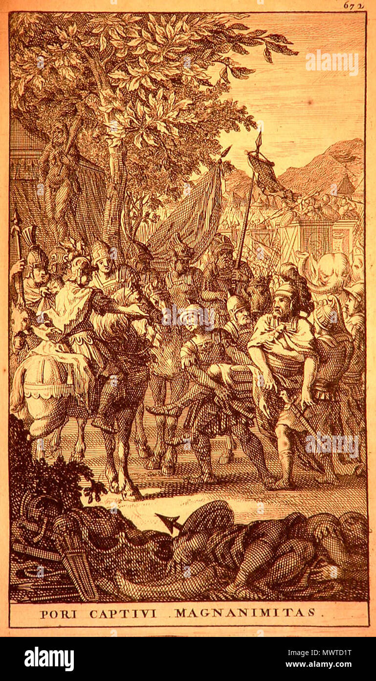 . Alexander old drawings . This file is lacking author information. 597 The magnanimity of Alexander towards the captive Porus (1696) Stock Photo
