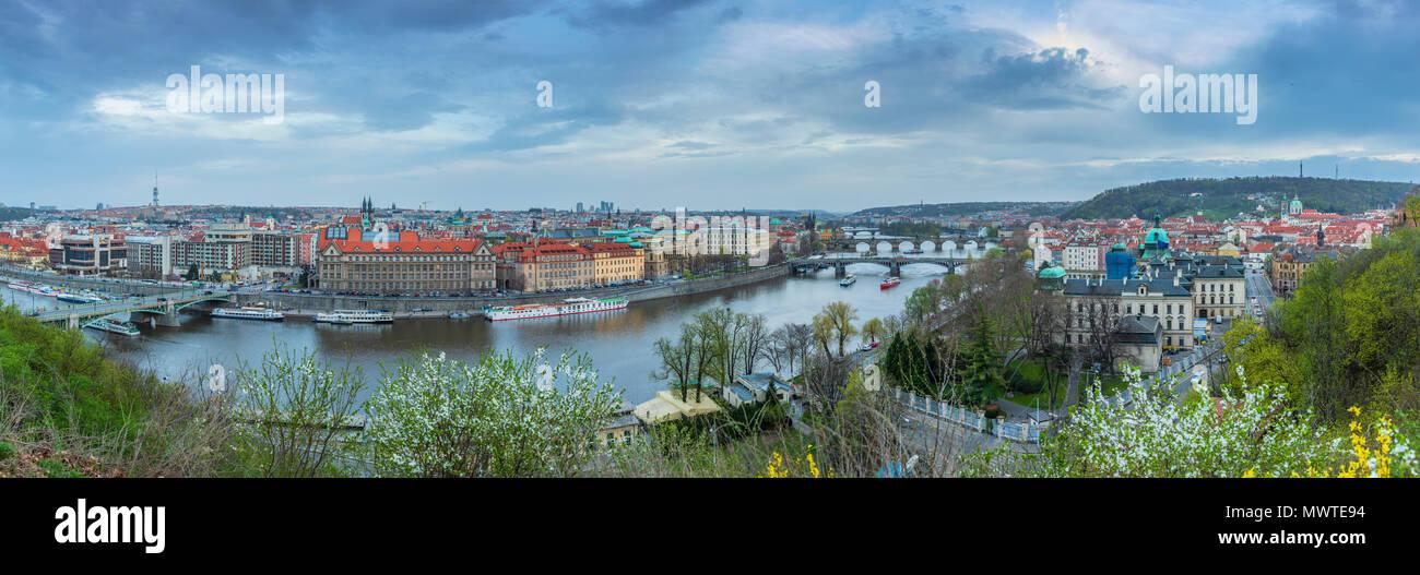 View of Prague from the Prague Metronome, Czech Republic - Stock Image