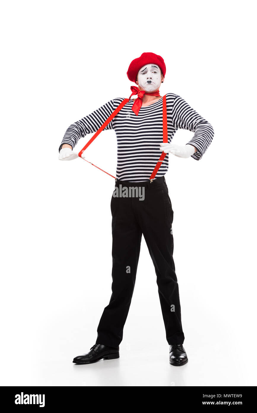 grimacing mime with red suspenders isolated on white - Stock Image