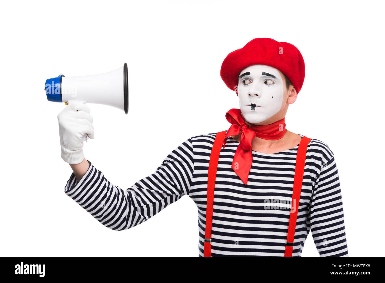 scared mime looking at megaphone isolated on white - Stock Image