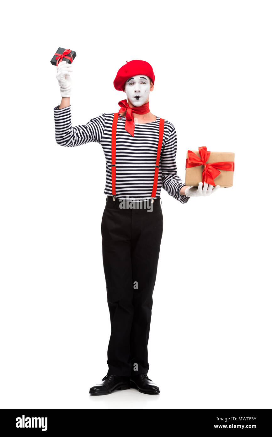 mime holding present boxes isolated on white - Stock Image