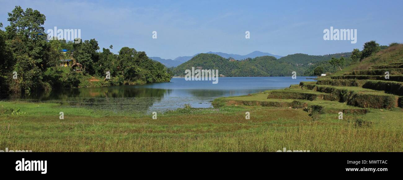 Landscape at Begnas lake, lake near Pokhara, Nepal. - Stock Image